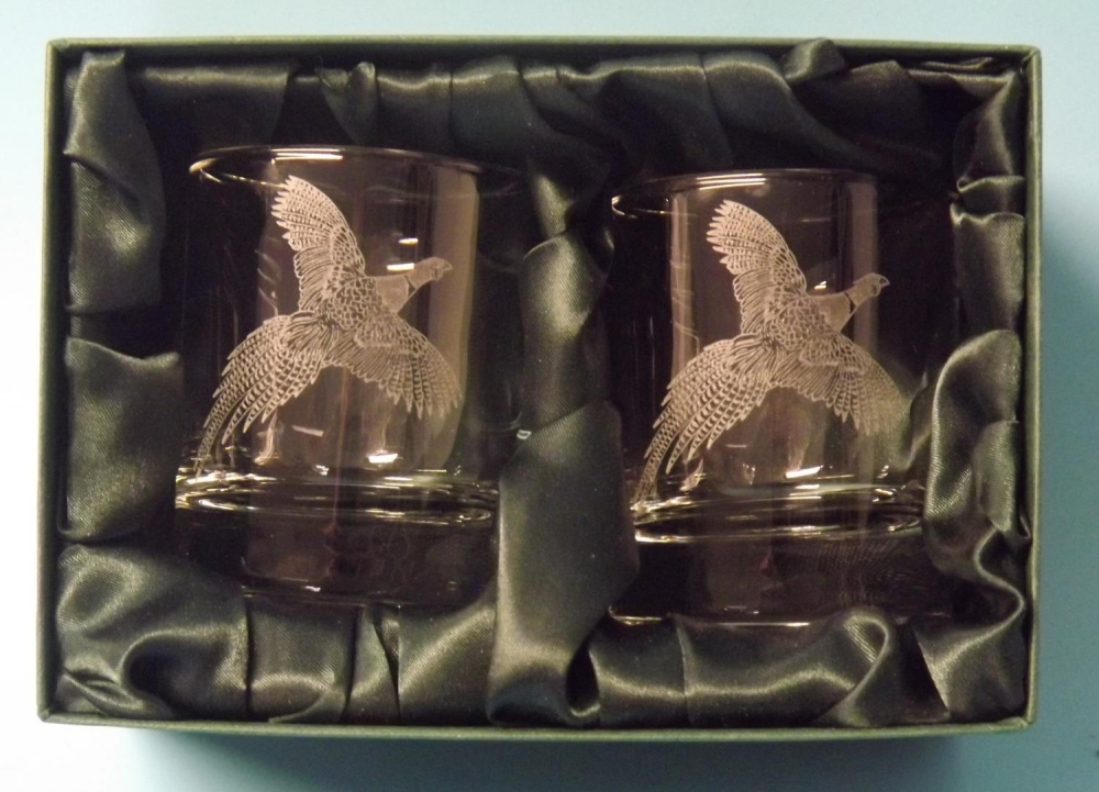 flying pheasant whisky glasses x 2