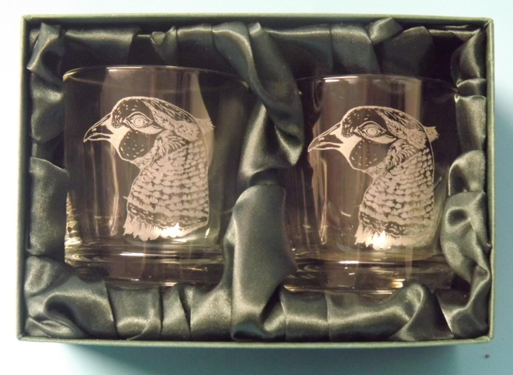 pheasant head whisky glasses x 2