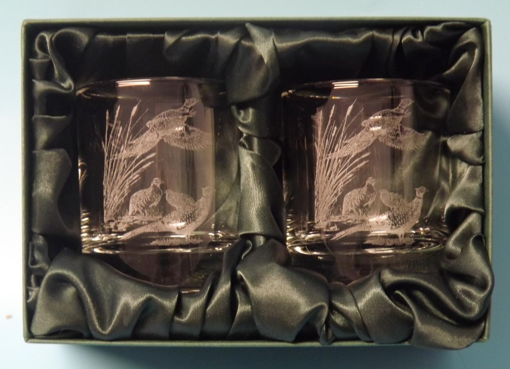 pheasant and reeds whisky glasses