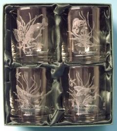 course fish engraved whisky glasses x 4