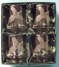 flying pheasant whisky glass sets x 4 same image