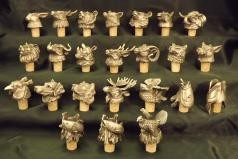 Animal head white metal bottle stoppers