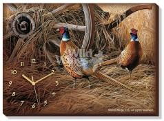 Autumn GlowPheasants Canvas Clock