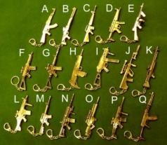 Metal miniature gun & rifle key rings