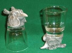 Animal head white metal shot glasses x 2 in presentation box